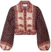 Zimmermann Jaya Tie-front Printed Linen Top - Burgundy