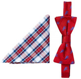 Alara Silk Taft Red & Blue Elephant Bow Tie & Pocket Square Set