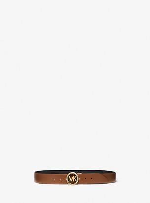 MICHAEL Michael Kors MK Reversible Logo and Leather Waist Belt - Luggage Brown - Michael Kors