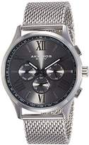 Akribos XXIV Men's Quartz Watch with Black Dial Analogue Display and Silver Stainless Steel Bracelet AK844SSB