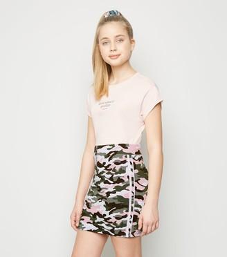 New Look Girls Camo Stripe Side Tube Skirt
