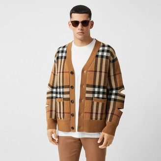 Burberry Cut-out Sleeve Check Wool Cashmere Cardigan