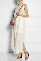 Sea Lace-paneled broderie anglaise cotton maxi dress