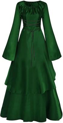 Jacansi Women Long Sleeve Medieval Renaissance Fancy Dress Halloween Cosplay Navy UK 12