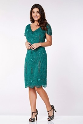 Linzi Gatsbylady London Downton Abbey Flapper Dress in Teal