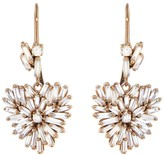 Suzanne Kalan White Diamond Baguette and Round Heart Drop Earrings - Rose Gold