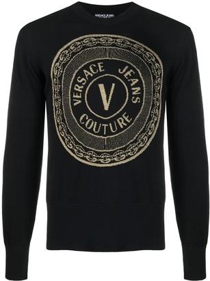 Versace Jeans Couture V-Emblem rib-trimmed jumper