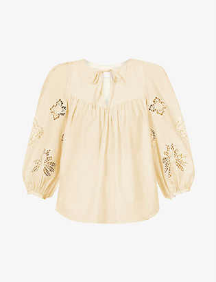 See by Chloe Broderie-anglaise cotton top