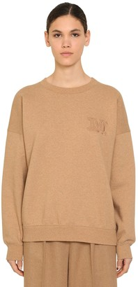 Max Mara EMBROIDERED COTTON & CAMEL SWEATSHIRT