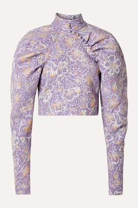 Rotate by Birger Christensen Kim Cropped Metallic Brocade Top - Lavender