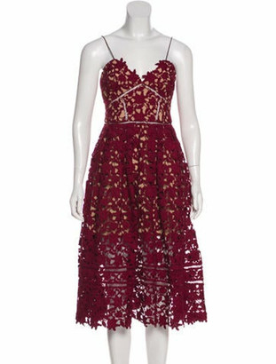 Self-Portrait Lace Midi Dress Red