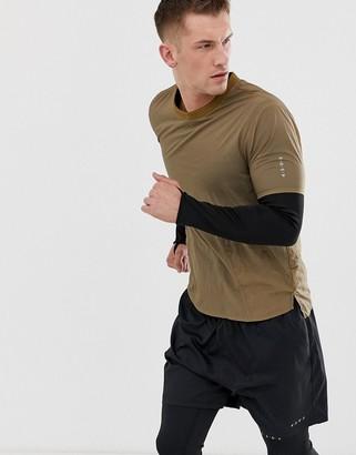 Asos 4505 woven running t-shirt in light khaki