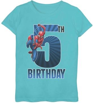Spiderman Licensed Character Girls 7-16 Marvel 5th Birthday Tee