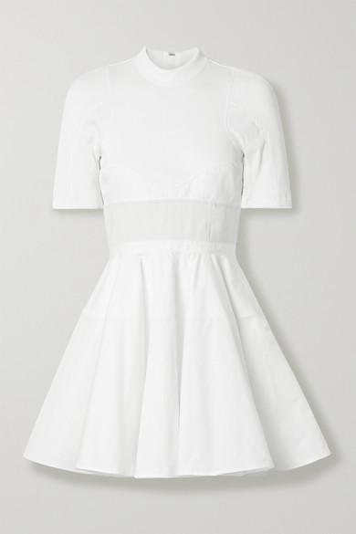 Alexander Wang Paneled Cotton-poplin, Ribbed Jersey And Canvas Mini Dress - White