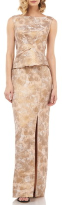 Kay Unger Yasmine Birds of Paradise Peplum Column Gown