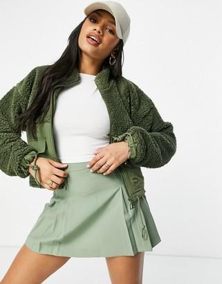 Russell Athletic zip up fleece jacket in khaki