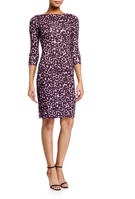 Erdem Reese Leopard Print 3/4-Sleeve Dress