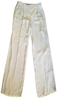 Versace Khaki Silk Trousers