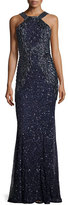 Rachel Gilbert Sequined Sleeveless Halter Gown, Deep Sea