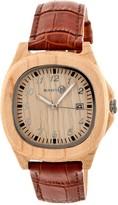 Earth Wood Men's Sherwood Crocodile Embossed Genuine Leather Strap Watch