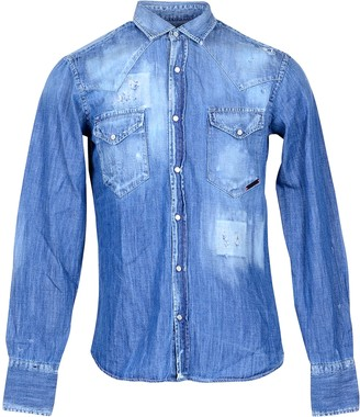Takeshy Kurosawa Distressed Blue Denim Men's Shirt w/Front Pockets