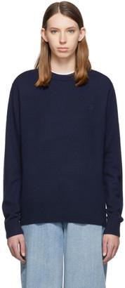 Acne Studios Navy Nalon Wool Face Crewneck Sweater