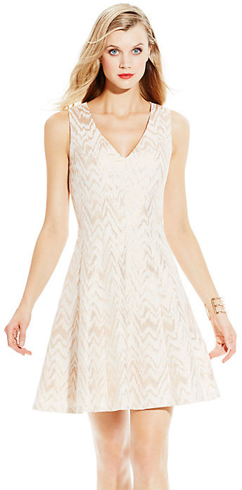 Vince Camuto V Neck Fit And Flare Dress