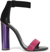 Tom Ford Embellished velvet and leather sandals