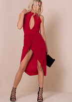 Missy Empire Tessy Red Cut Out Front Wrap Midi Dress