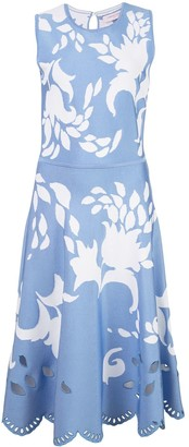 Carolina Herrera jacquard floral detail midi dress