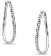 Zales Diamond FascinationTM Figure-Eight Hoop Earrings in Sterling Silver