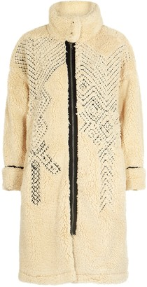 Free People Avery embroidered faux shearling coat