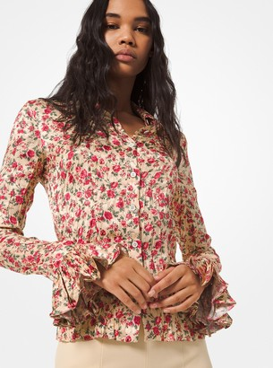 Michael Kors Collection Floral Crushed Satin Jacquard Blouse
