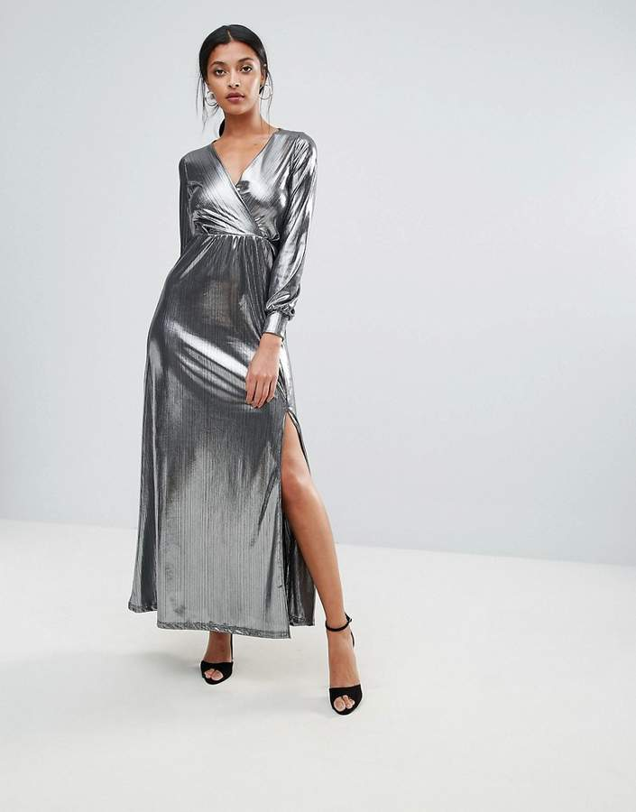 Club L Wrap Front Metallic Maxi Dress