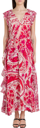Twin-Set TwinSet Long Floral Dress With Frills