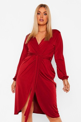 boohoo Plus Disco Slinky Belted Wrap Midi Dress