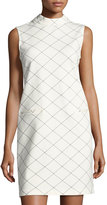 Neiman Marcus Ponté Windowpane-Print Shift Dress, White/Blue