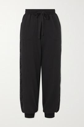 I.D. Sarrieri After Hours Lace-paneled Stretch Cotton-blend Jersey Track Pants - Black