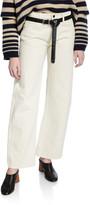 KHAITE Kerrie Straight-Leg Crop Jeans, Ivory
