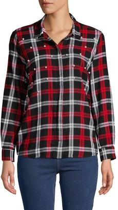Jak & Rae Jak&Rae Larue Faux Pearl-Embellished Cotton Button-Down Shirt