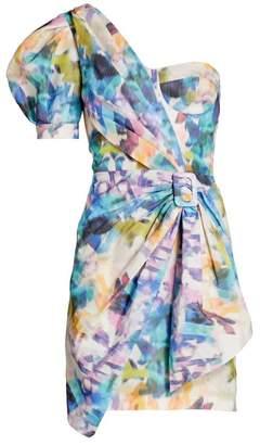 Flor Et. Al Joanna Rainbow One-Shoulder Dress