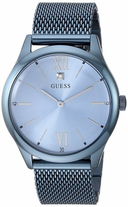 GUESS Stainless Steel Sky Blue Ionic Plated Mesh Bracelet Watch with Genuine Diamond Dial. Color: Sky Blue (Model: U1214G4)