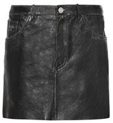 Saint Laurent Distressed Leather Miniskirt