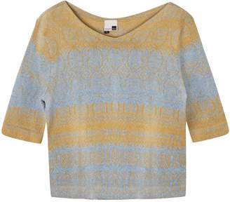 Studio Myr One-Of-A-Kind Three-Quarter Sleeve Knitted Cotton Jumper Denim Golden Blue