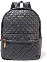 MZ Wallace Metro Medium Leather-trimmed Quilted Shell Backpack - Dark gray