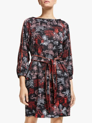 Marella Mida Printed Dress, Black/Multi