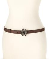 Betsey Johnson Dark Brown & Black Rhinestone Flower Belt