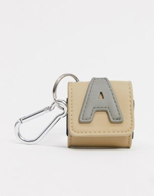 ASOS Actual ear pods case with 'A' initial and clip detail