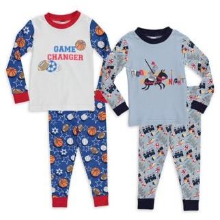 Sol Sleep Baby & Toddler Boys Long Sleeve Snug Fit Cotton Pajamas, 4pc Set (12M-4T)