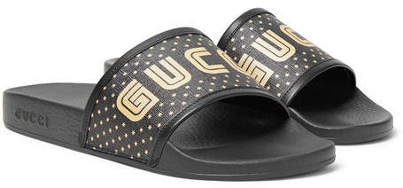 Gucci Leather-Trimmed Logo-Print Rubber Slides